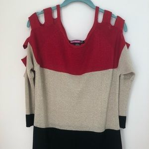 Say What? Vintage Color Block Sparkle Sweater